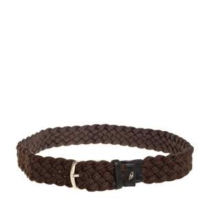 Brioni Mocha Brown Braided Fabric Buckle Belt