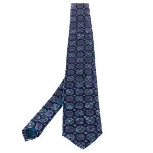 Brioni Teal Blue Floral Print Silk Tie