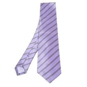 ربطة عنق بريوني حرير بنفسجي نمط مائل مطبوع