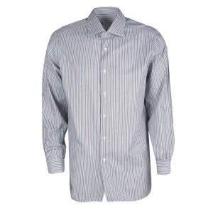 Brioni Multicolor Striped Cotton Long Sleeve Button Front Shirt XXL