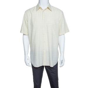 Brioni  Pale Yellow Checkered Cotton Short Sleeve Button Front Shirt XXL