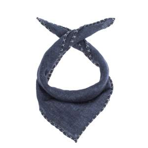 Brunello Cucinelli Navy Blue Cross Stitch Detail Linen Pocket Square