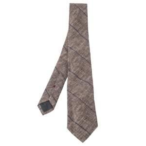 Brunello Cucinelli Beige Linen & Silk Diagonal Striped Tie