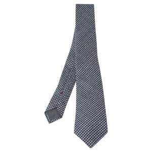 Brunello Cucinelli Navy Cotton Houndstooth Narrow Tie