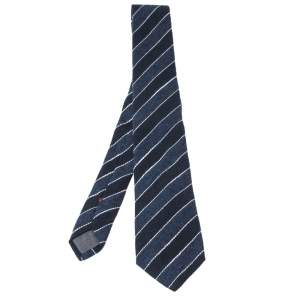 Brunello Cucinelli Blue Cotton Linen Striped Narrow Tie
