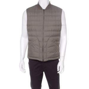 Brunello Cucinelli Bicolor Linen Wool Checked Sleeveless Reversible Puffer Jacket/Vest L