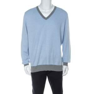 Brunello Cucinelli Light Blue Cotton V Neck Sweater 4XL