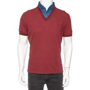 Brunello Cucinelli Maroon Cotton Denim Collar Detail Regular Fit T-Shirt L