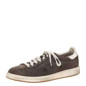 Brunello Cucinelli Grey Nubuck and Leather Trim Low Top Sneakers Size 44