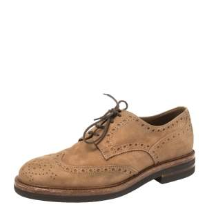 Brunello Cucinelli Brown Suede Brogue Lace Up Oxfords Size 41