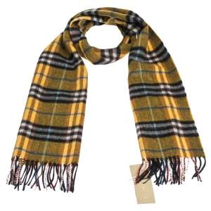 Burberry Amber Yellow Castleford Check Cashmere Scarf