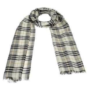 Burberry Sage Green Vintage Check Lightweight Wool & Silk Blend Scarf