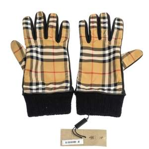 Burberry Beige Check Cashmere Lined Leather Trim Gloves
