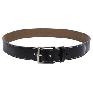 Burberry Black Topstitched Leather Buckle Belt 100CM