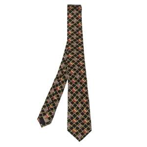 Burberry Multicolor Horsebit Print Silk Slim Cut Stanfield Tie