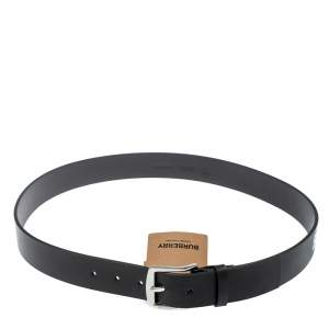 Burberry Black Leather Gray35 Buckle Belt 100CM