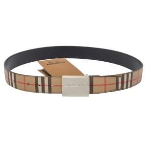 Burberry Beige House Check PVC Logo Plaque Belt 90CM