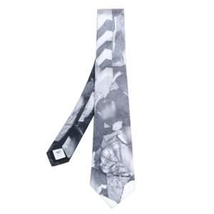 Burberry Monochrome Rave Print Silk Tie