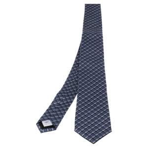 ربطة عنق بربري مانستون حرير أزرق بيبل مونوغرامي رفيعة