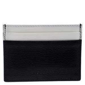Burberry Black/White Leather Sandon Card Holder