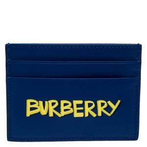 Burberry Blue Logo Print Leather Sandon Card Holder