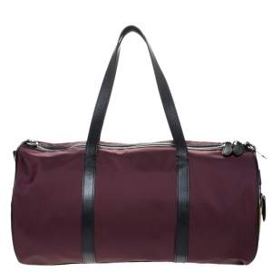 Burberry Dark Burgundy/Beige Nylon Medium Kennedy Duffel Bag
