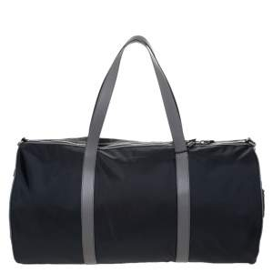 Burberry Black/Beige Nylon Large Kennedy Duffle Bag