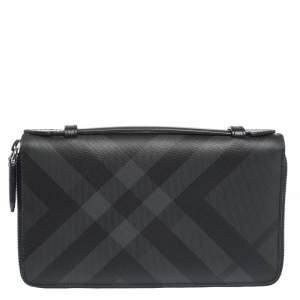 Burberry Black House Check Coated Canvas and Leather Reeves Double Zip Wallet