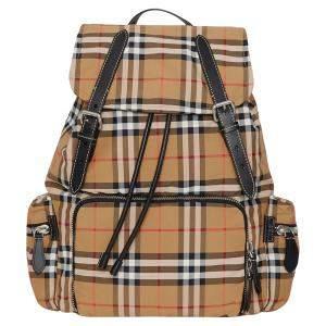 حقيبة ظهر بربري كبيرة نايلون مربعات فينتدج و جلد أصفر
