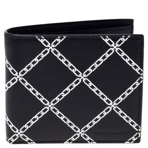 Burberry Black/White Leather Bifold Wallet