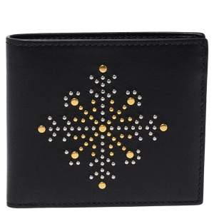 Burberry Black Leather Studs Bifold Wallet