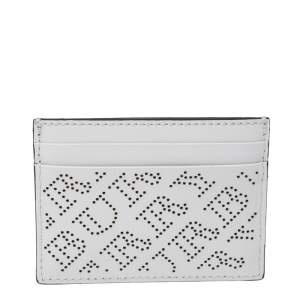 Burberry White Perforated Leather Sandon Card Holder