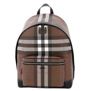 Burberry Dark Brown Check Canvas Backpack