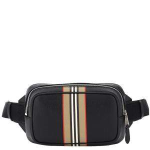 Burberry Black Leather West Icon Stripe Beltpack