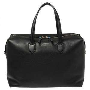 Burberry Black Grain Leather Lawrence Holdall Weekend Bag
