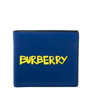 Burberry Blue Leather Reg CC Bill8 Bifold Wallet
