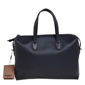 Burberry Black Leather Lawrence Holdall Weekend Bag