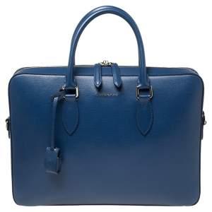 Burberry Deep Blue Leather Hambleton Briefcase