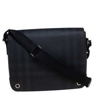 Burberry Dark Charcoal Beat Check PVC and Leather Messenger Bag