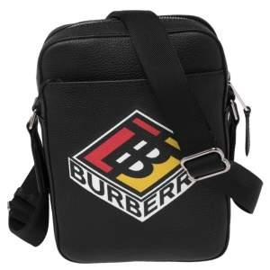 Burberry Black Leather Graphic Logo Messenger Bag