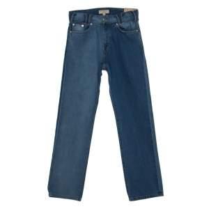 Burberry Indigo Washed Denim Straight Fit Workwear Jeans M