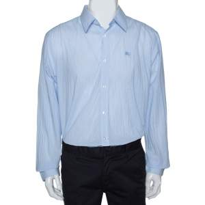 Burberry Bicolor Striped Cotton Streatfeild Long Sleeve Shirt XXL
