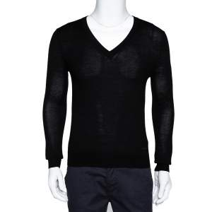 Burberry Black Merino Wool Lainson V-Neck Sweater S