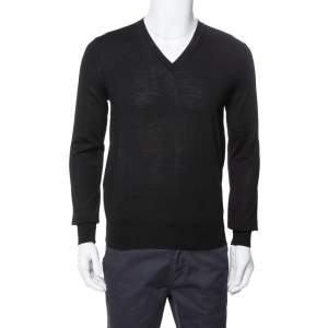 Burberry Black Merino Wool V-Neck Sweater S