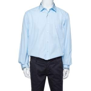 Burberry London Sky Blue Cotton Logo Detail Long Sleeve Button Front Shirt XL