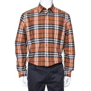 Burberry Brown Vintage Check Cotton Button Front Shirt L