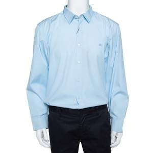Burberry Blue Cotton Button Front Shirt 3XL