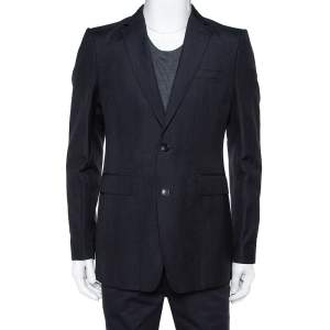 Burberry Navy Blue Wool & Linen Classic Tailored Blazer XL
