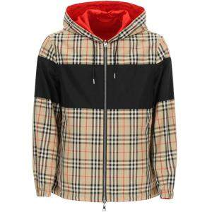 Burberry Beige/Brown Reversible Vintage Check and ECONYL Hooded Jacket Size L