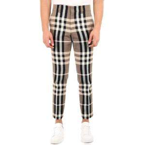 Burberry Check Technical Cotton Slim Fit Tailored Trousers Size EU 46